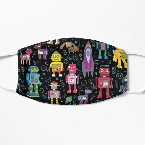 Robots in Space - black - fun pattern by Cecca Designs Mask