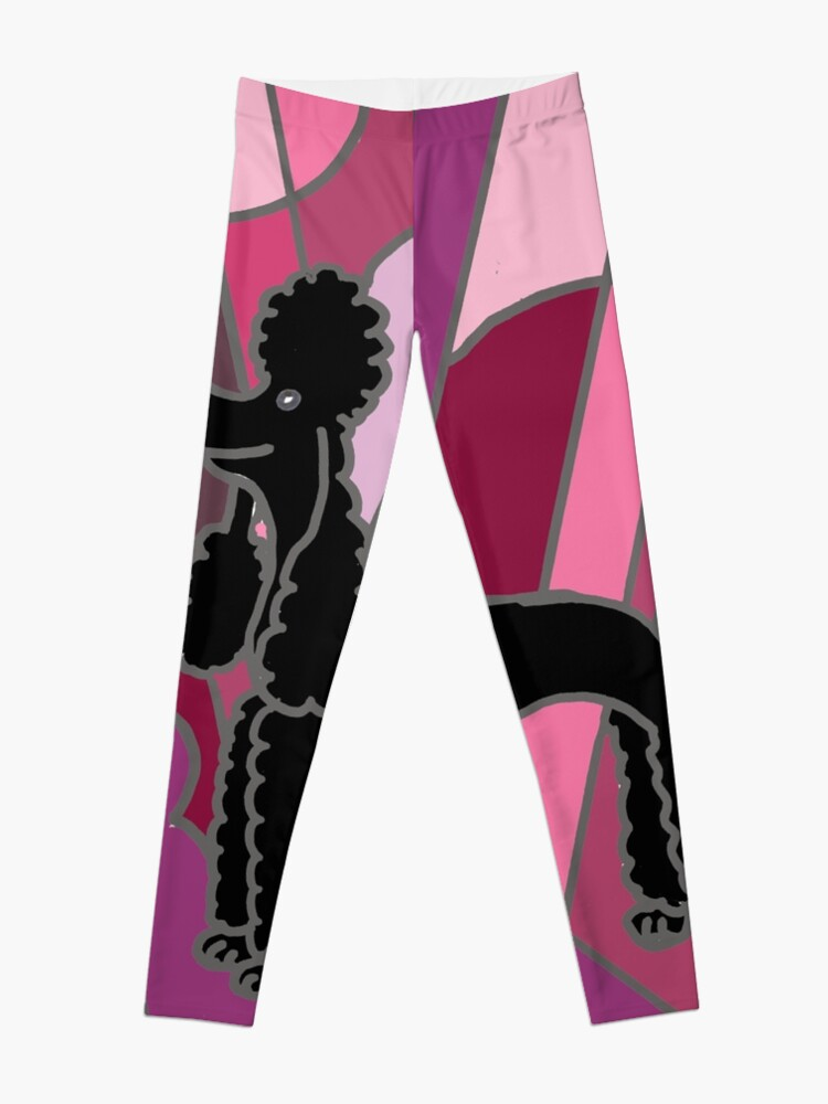 Alternate view of Cool Funky Black Poodle Abstract Art Leggings