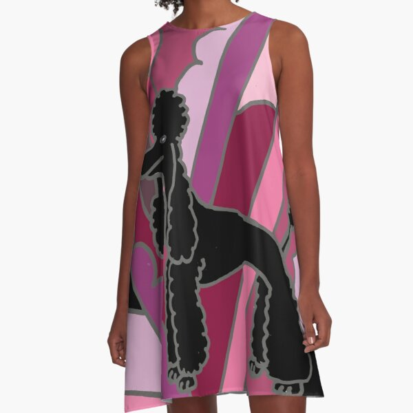 Cool Funky Black Poodle Abstract Art A-Line Dress