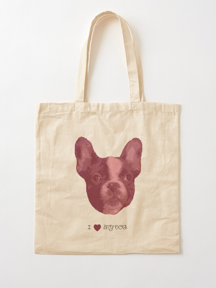 Alternate view of I love my dog - French Bulldog (Pink) Tote Bag