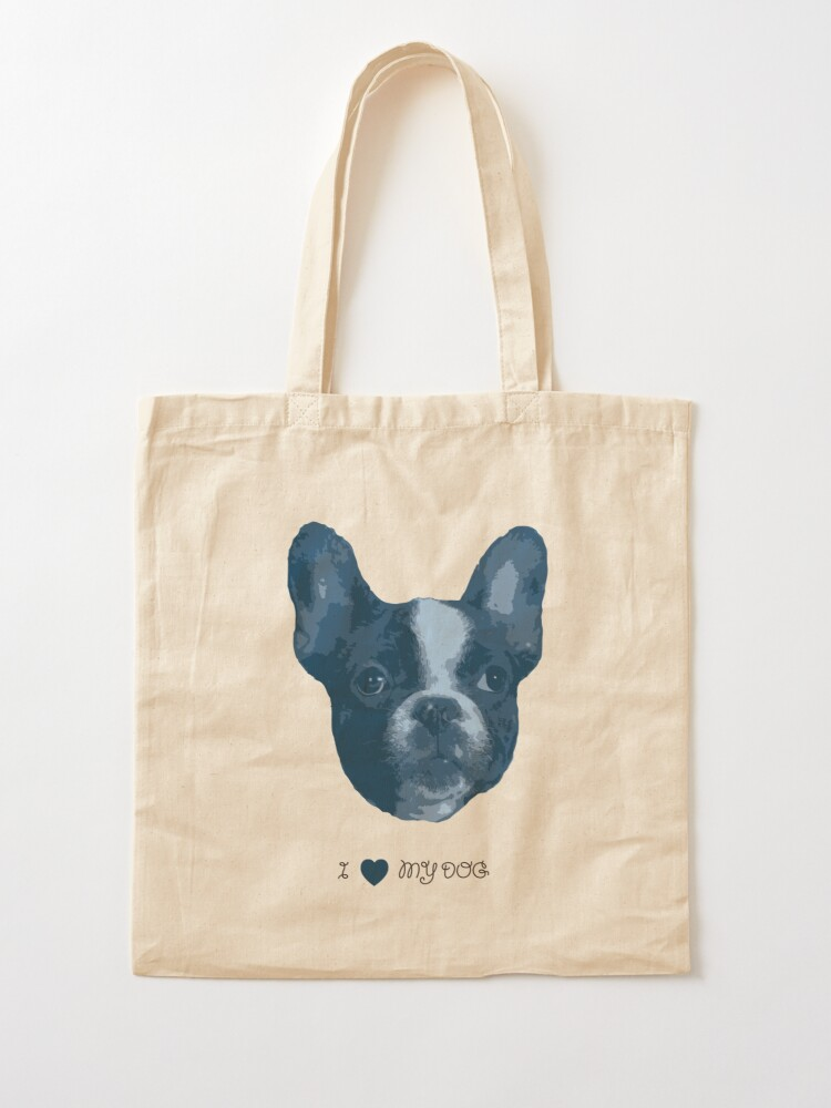 Alternate view of I love my dog - French Bulldog (Blue) Tote Bag