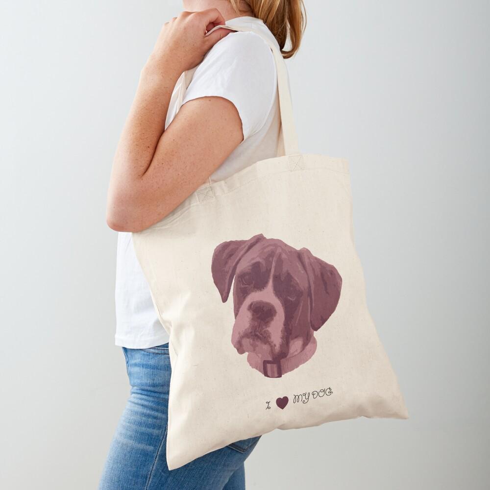 I love my dog - Boxer (Pink) Tote Bag