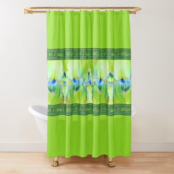Green Iris Border Shower Curtain