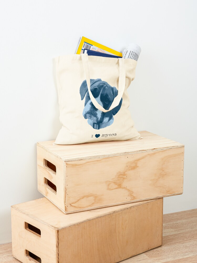 Alternate view of I love my dog - Boxer (Blue) Tote Bag