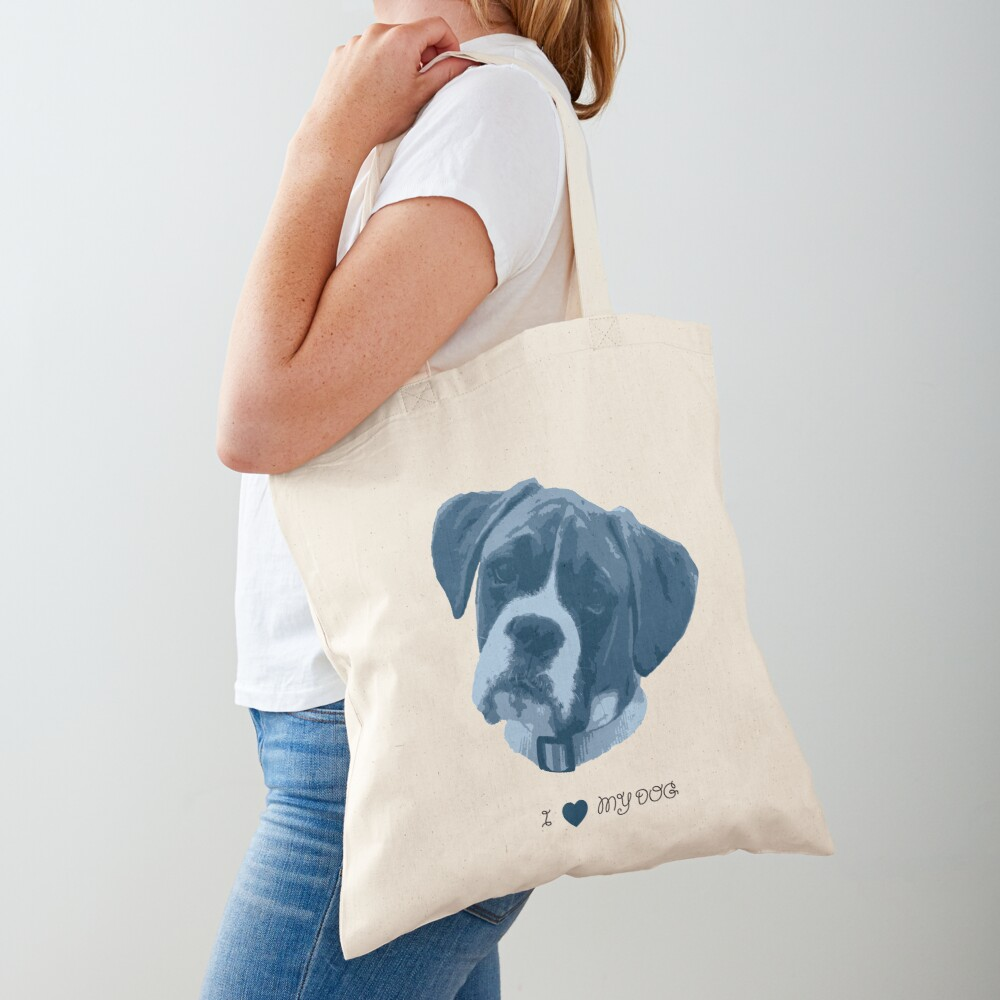 I love my dog - Boxer (Blue) Tote Bag