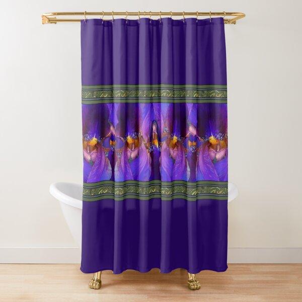 Purple Iris Border Shower Curtain