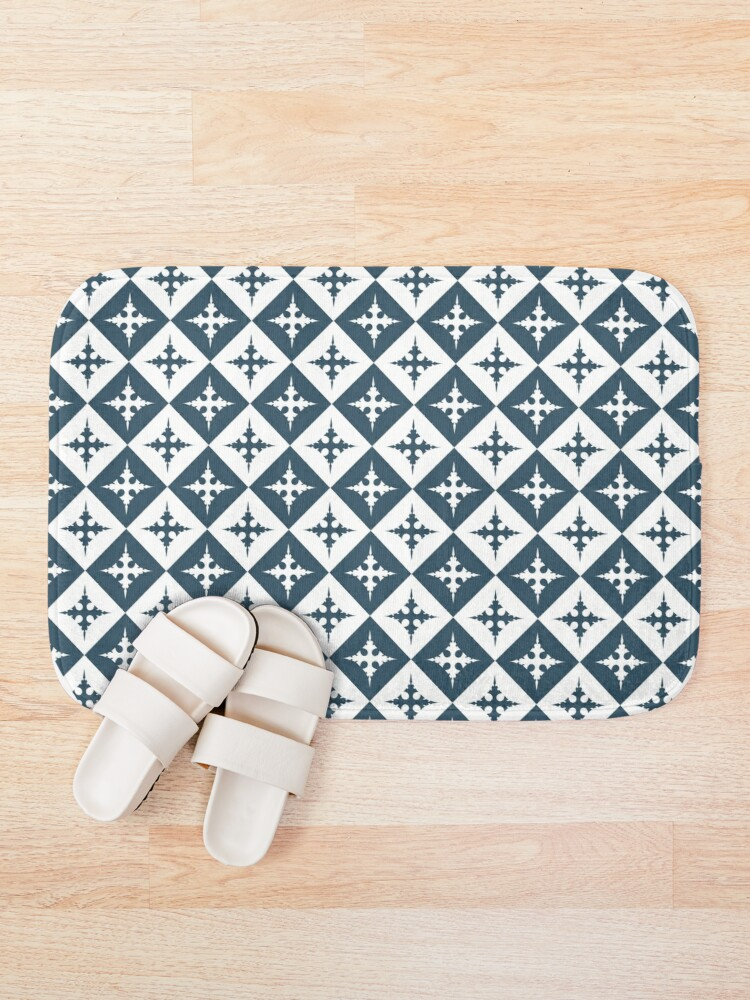 Alternate view of Tile pattern - Blue and White Bath Mat