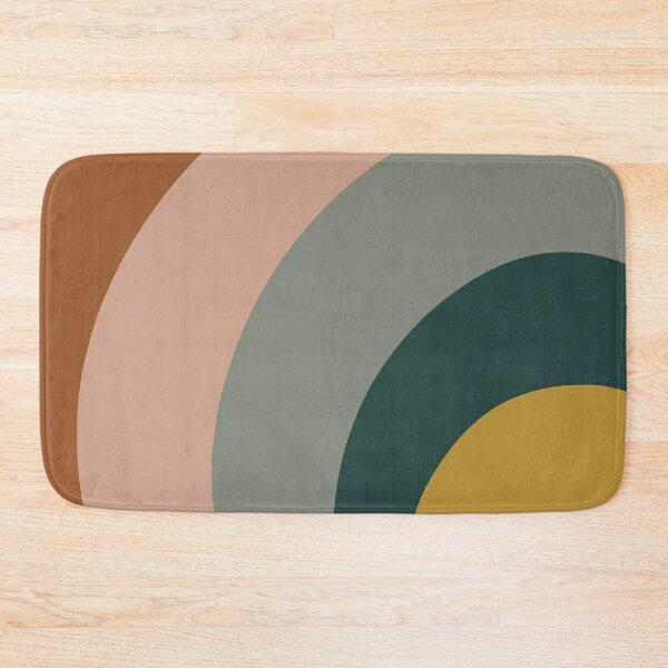 Sound Waves Minimalist Pattern in Mustard Yellow, Teal, Grey, Blush Pink, and Rust Bath Mat