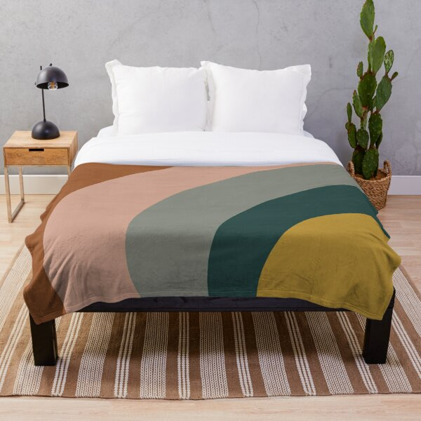 Sound Waves Minimalist Pattern in Mustard Yellow, Teal, Grey, Blush Pink, and Rust Throw Blanket