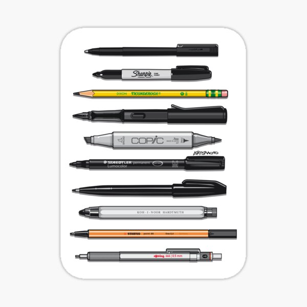 Pen Collection For Sketching And Drawing (Plain) Sticker