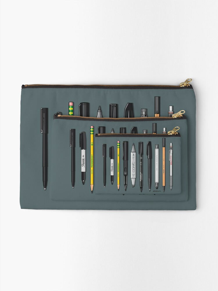 Alternate view of Pen Collection For Sketching And Drawing (Plain) Zipper Pouch