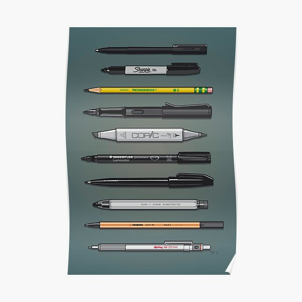 Pen Collection For Sketching And Drawing (Plain) Poster