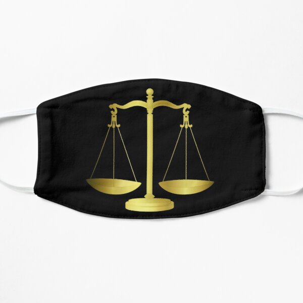 Gold Scales Of Justice on Black keeping law and Order Mask