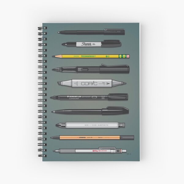 Pen Collection For Sketching And Drawing (Plain) Spiral Notebook