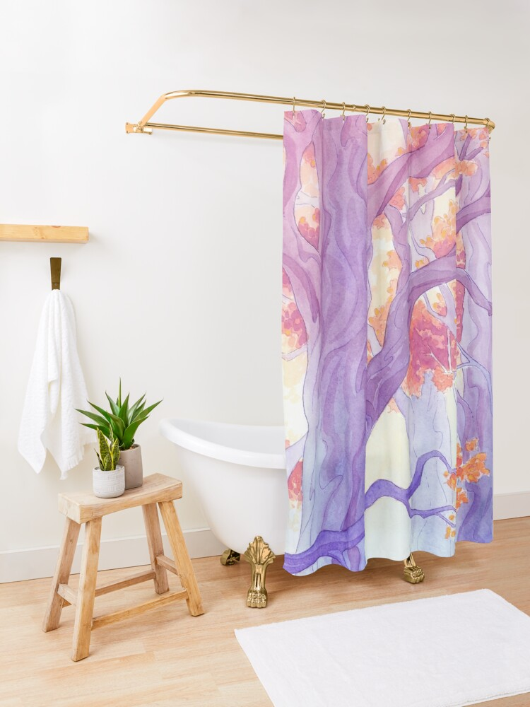 Alternate view of The Long Crossing - Purple Variant Shower Curtain