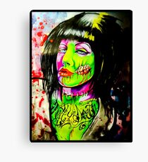 Punk Rock Zombie Chick COLOUR Canvas Print