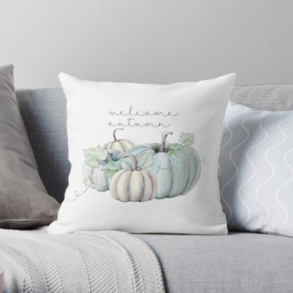 welcome autumn 4 pumpkins Throw Pillow