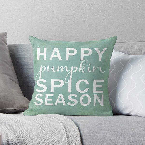 happy pumpkin spice season- blue Throw Pillow