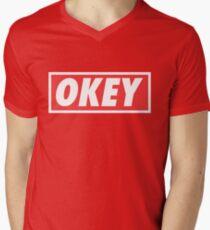 OKEY Mens V-Neck T-Shirt