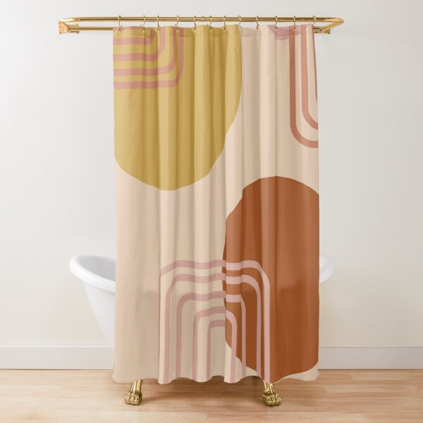 Mid Century Modern Shapes and Lines in Desert Terracotta and Mustard Yellow Shower Curtain