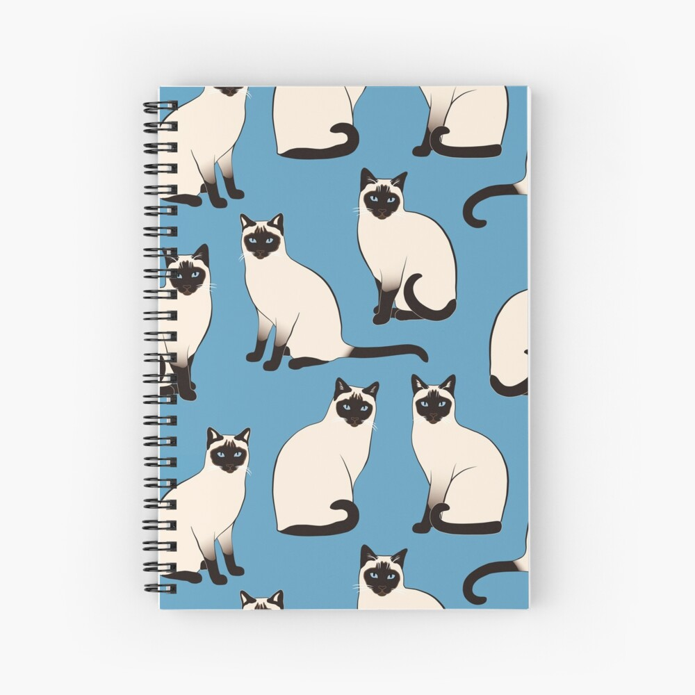 Siamese Cats sparse on blue Spiral Notebook