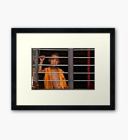 Little Monk in the Window Framed Print