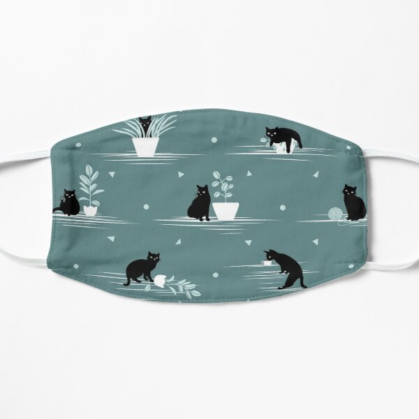 When the Black Cat is Alone at Home (Light Green) Flat Mask