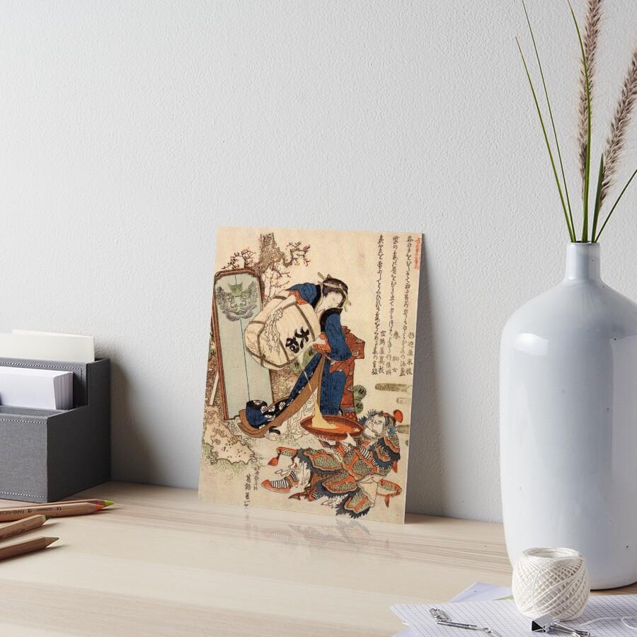 The Strong Oi Pouring Sake by Katsushika Hokusai Art Board Print