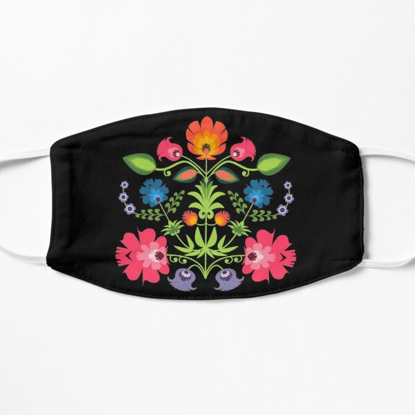 Polish Folk Flowers on Black Flat Mask