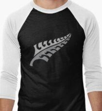 Jagged irregular trendy Silver fern New Zealand symbol Men's Baseball ¾ T-Shirt