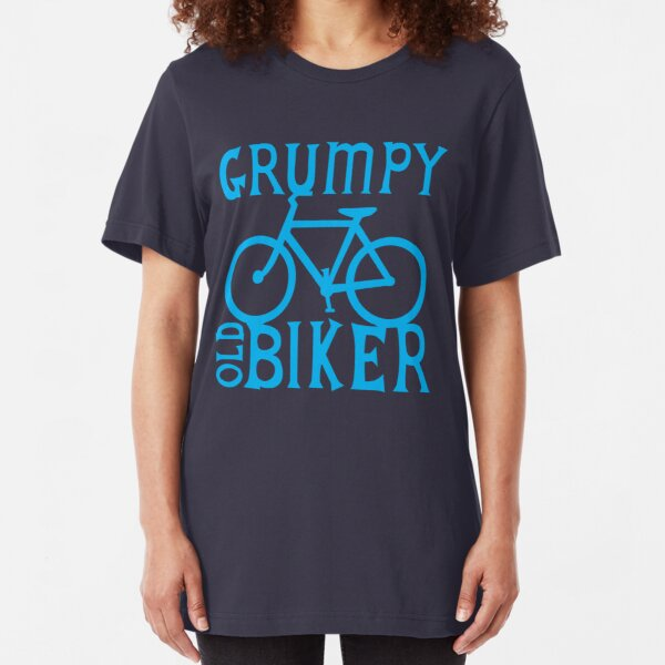 Grumpy old Biker with cycle riding bike bicycle Slim Fit T-Shirt