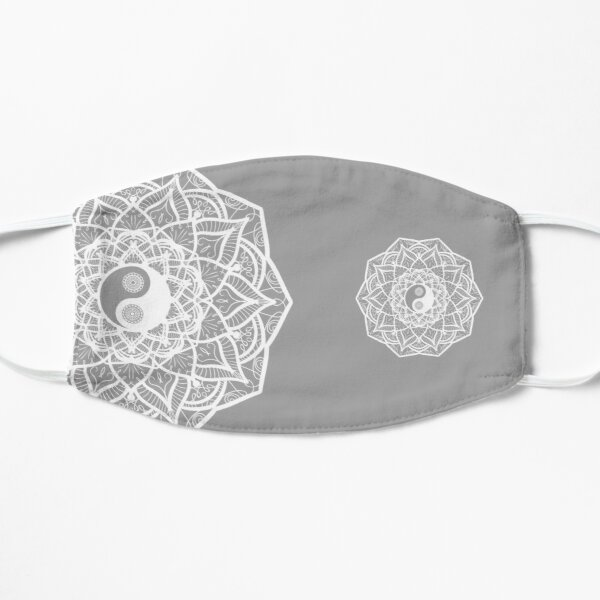 Mandala Yin Yang Flower Mask wht/gry Mask