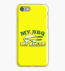 MY BBQ (barbecue) MY RULES Aussie Australian flag and tongs iPhone Case/Skin
