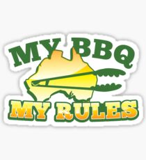 MY BBQ (barbecue) MY RULES Aussie Australian flag and tongs Sticker