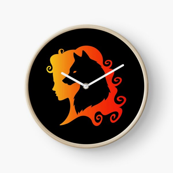 Fire Wolf Spirit Totem Animal Guide Cheeky Witch® Clock