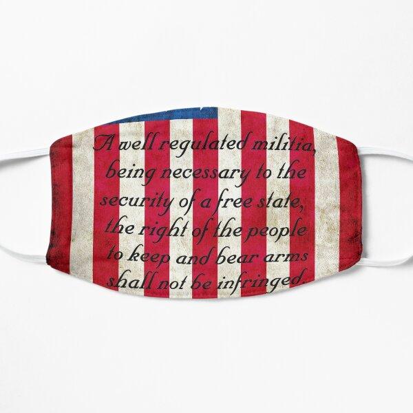 Vintage American Flag And 2nd Amendment On Old Wood Planks Flat Mask