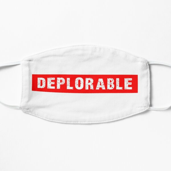 DEPLORABLE White on Red Flat Mask