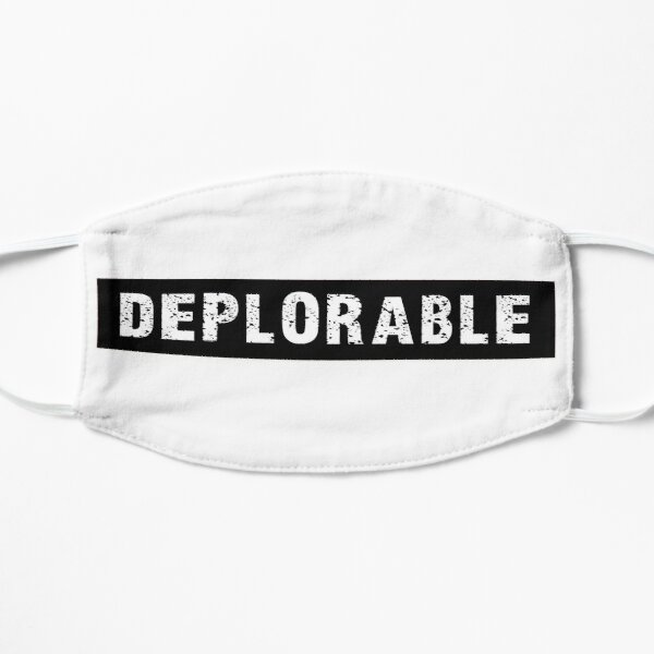 DEPLORABLE White on Black Flat Mask