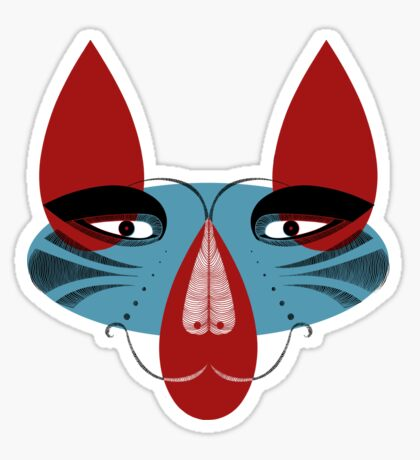 Coyote the Trickster in red, black and white Sticker