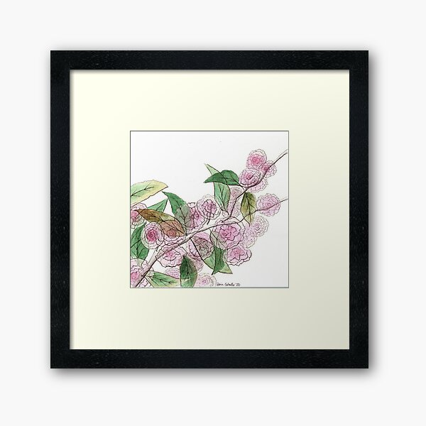 Cherry Blossoms Across the Street Framed Art Print