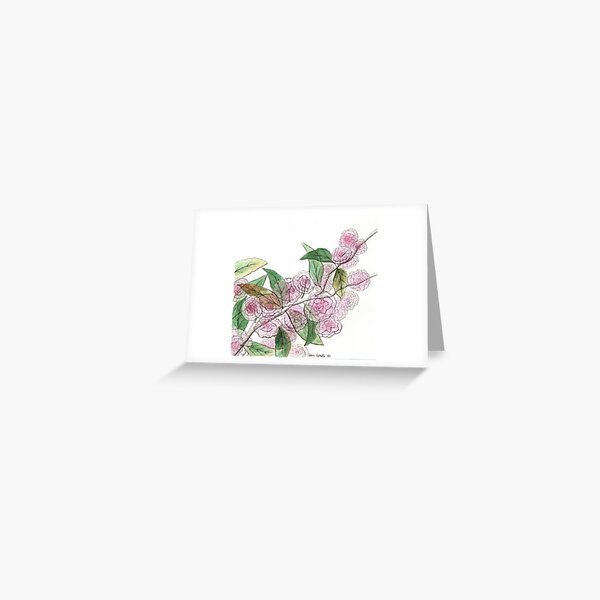 Cherry Blossoms Across the Street Greeting Card