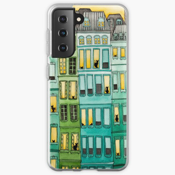 Cats in Green Townhouses Samsung Galaxy Soft Case