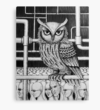 Urban Owl surreal pen ink black and white drawing Canvas Print