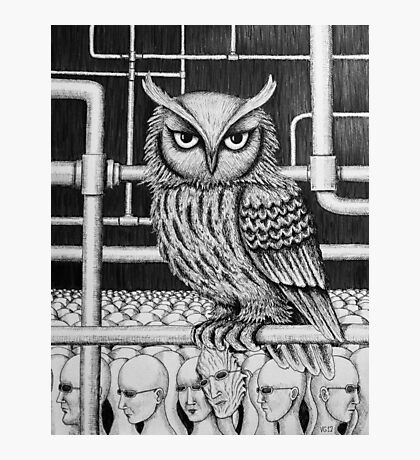 Urban Owl surreal pen ink black and white drawing Photographic Print
