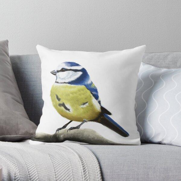 Blue tit bird Throw Pillow