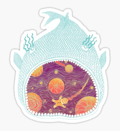 Cosmic Fish with Gingerbread Astronaut Sticker
