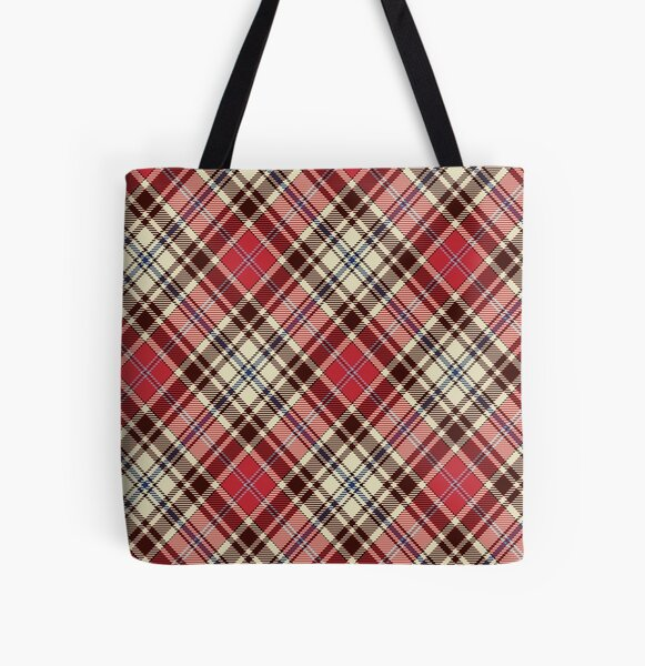 Geomatric line pattern for birthdaygift red and beige All Over Print Tote Bag