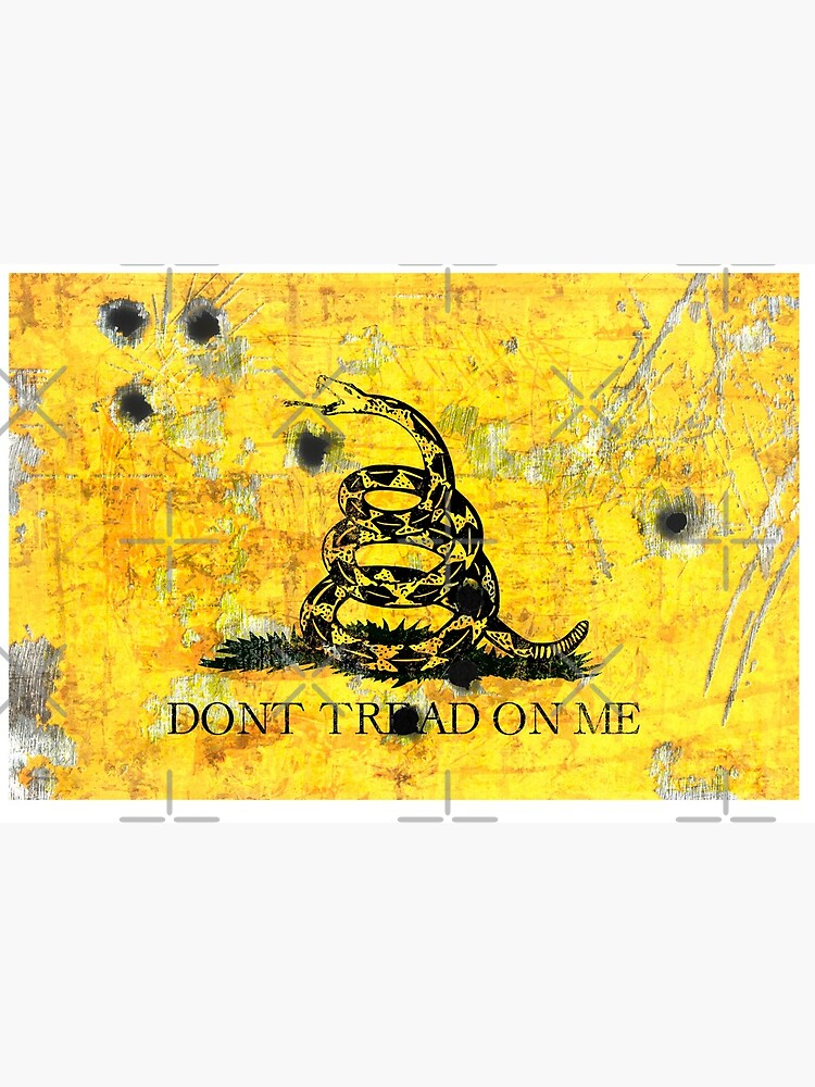 Gadsden Flag on Distressed Metal With Bullet Holes by MolonLabeArt
