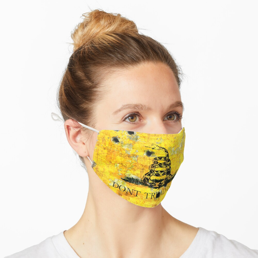 Gadsden Flag on Distressed Metal With Bullet Holes Mask