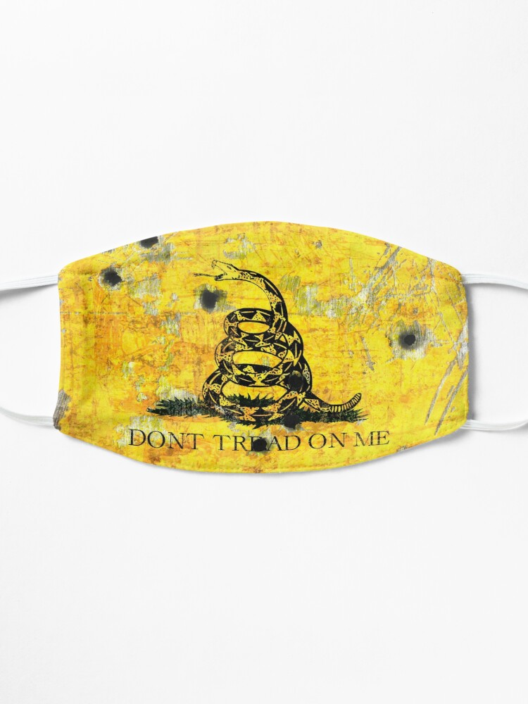 Alternate view of Gadsden Flag on Distressed Metal With Bullet Holes Mask